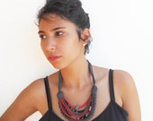 African style short women recycle fabric necklace-ethnic pattern-bordo beige grey-tribal womens fashion-eco friendly-textiler fiber  jewelry