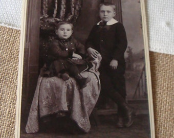 Antique Photo Vintage Photo Cabinet Card  Victorian Brothers Adorable Outfits Sweet