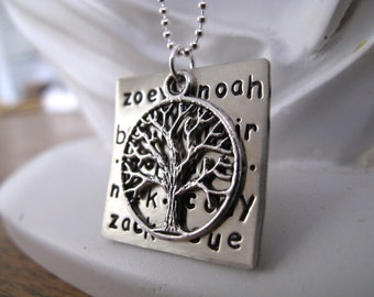 Nickel Silver Square Family Tree Keepsake Pendant stamped with your Kids Names - Great Gift for Mom, Nana or Grandma