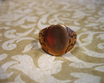 Antique Victorian Rose GF Insignia Ring w Side Stars