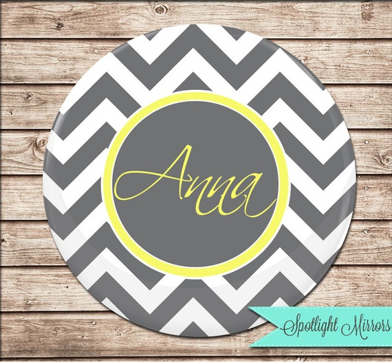 Bridesmaid Compact or Pocket Mirror - Choose Your Colors - Grey Chevron with Yellow