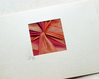 Thank You Cards, 5 Blank Note Cards, Hand-Dyed Silk Twist, Exquisite Brilliant Colors, Coral and Magenta, Enclosure, Gift Card, Note Papers