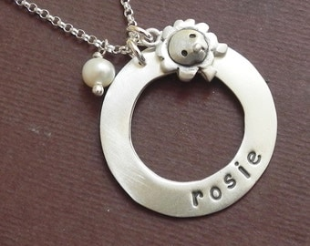 Personalized lion necklace in sterling silver hand stamped with pearl leo zodiac necklace hand stamped