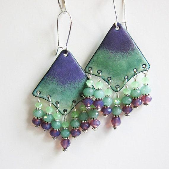 Green & Purple Chandelier Earrings Bohemian Earrings Mint