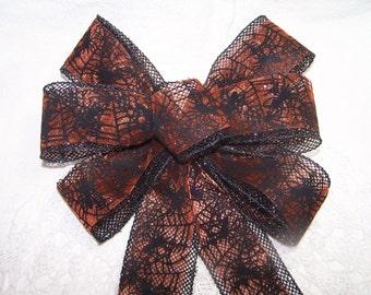Orange & Black Bow Spider and Web Handmade Wreath Halloween Scary Decor Spooky Haunted House or Wedding