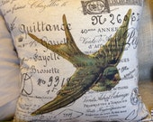 """Bird Pillow Cover French Script and Burlap Pillow Slip  """" Blue Swallow  from Gathered Comforts"""