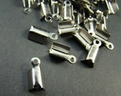 100pcs 13x5mm Silver Smooth Fold Over Crimp Head Clasps