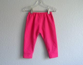 Infant Leggings - Pink Cotton Lycra Leggings - Cuffed Leggings - Infant Pants - Size 3m, 6m, 9m, 12m, 18m or  2T