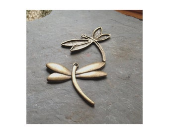 4 Large Bronze Dragonflies - Pendant  - FAST SHIPPING