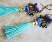 blue sari silk brocade tassel earrings