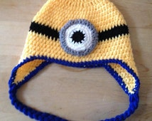 One eyed minion hat newborn to adult