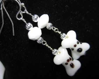 Dog Bone Pawprint Dangle Earrings