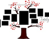 Family Photo Tree with Berries - Vinyl Wall Art Graphics Lettering Decals Stickers