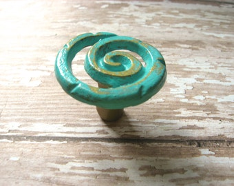 2 Spiral Knobs Gold and Aqua Blue Whimsical Funky Last Set Available Ready to Ship Spiral Drawer Knob Cabinet Knob Pull B-5