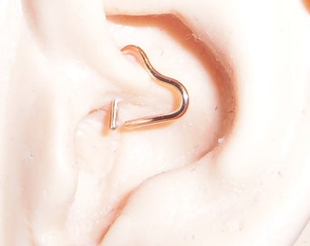 Small 14 Karat Rose Gold Filled Cartilage Heart Earrings, 8, 10 Or 12 MM  18, 20 Or 22 Gauge Wire