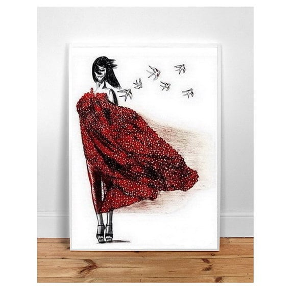 Dont wait for love -  (A3) Wall Art, Home Decor, typographic poster watercolor ,easter , Fashion Illustration Modern Art