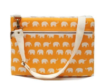 "13"" Macbook or Laptop bag with zipper pocket and detachable shoulder strap - Orange elephant-Ready to ship"
