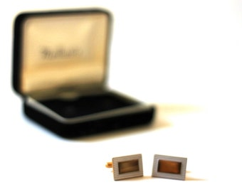 Vintage Cufflinks 1960s Gold and Silver with Box from Mailliards Jewelry Menswear Geometric