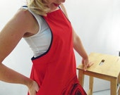 Full Apron With Pockets - Black Rose on Red - Silk Screen Printed to Order