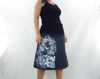 Day of the Dead  -  BLACK - Aline Cotton Skirt - Silk Screen Printed to Order