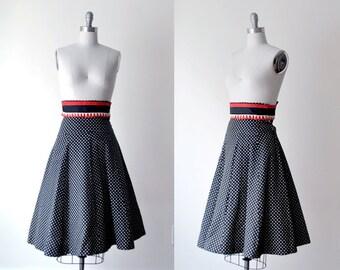 polka dot skirt. 50's full skirt. xxs skirt. 1950 black skirt. red white black. skirt wool 50. rockabilly.