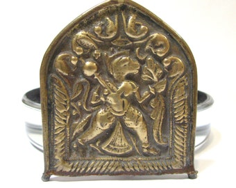 Antique Hanuman Brass Amulet Alter or Shrine Plaque, Rajasthan, India, 45.2 Grams (1.595oz)