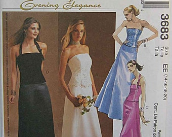 Misses' Elegant Tops and Skirts, Prom, Wedding, Bridesmaid, 2 Piece Gown, McCall's 3683 Sewing Pattern UNCUT Sizes 14-16-18-20