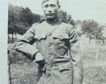 WW 1 Postcard 1918 SOLDIER in Uniform