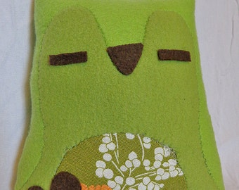 Green Floral Calm Owl Plush