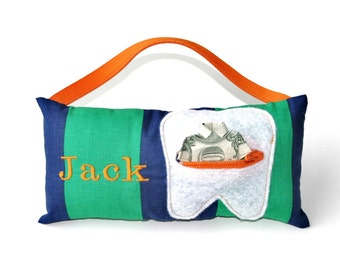 Boy's navy and green striped Personalized Tooth Fairy Pillows