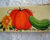 Handpainted Harvest Board, decorative painting fine art acrylic home decor cottage chic autumn victorian pumpkin sunflower wall decoration