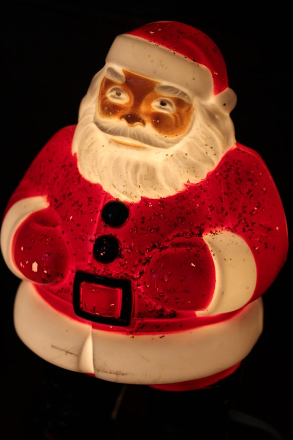 1950s Light Up Santa Claus Plastic Mold Vtg Saint Nick