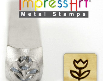 Tulip Metal Stamp ImpressArt- 6 mm  Metal Design Stamp-Perfect for Your Hand Stamping Needs-Steel Stamps