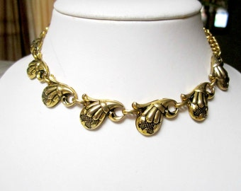 Vintage Gold Necklace Gold Choker Unique Layered Gold Design Gift for Mom Gift for Her Holiday Jewelry Gift Idea Under 25