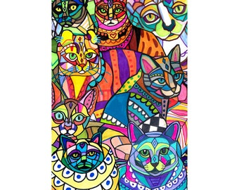 Crazy Cat Art Poster Print of Painting by Heather Galler Modern Abstract Colorful Cats (HG325)