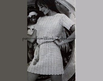 Crochet  dress pattern Lace Tunic Mini Dress mother daughter sizes goddess dress  Vintage Pattern PDF164 from WonkyZebra