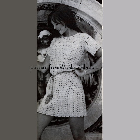 Crochet  dress pattern Lace Tunic Mini Dress mother daughter sizes goddess dress  Vintage Pattern PDF164 from WonkyZebra