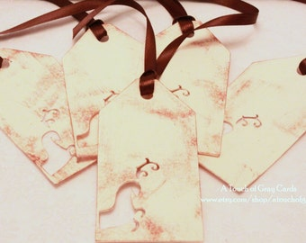 Christmas Tags (Double Layered) - Reindeer Tags - Cut-Out Tags- Handmade Vintage Inspired Christmas Gift Tags - Set of 5
