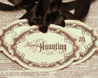 Halloween Gift Tags (Double Layered) - Happy Haunting Tags - Vintage Inspired Handmade Halloween Tags (Set of 8)
