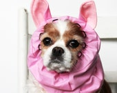 Pink Pig Ears Dog Snood - Stay-Put 3 Rows Elastic Thread - Pet Hat - Long ear covering - Specialty Snood