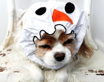 Snowman Dog Snood / Stay-Put 3 Rows Elastic Thread / Christmas Dog Snood / Holiday Pet Accessory