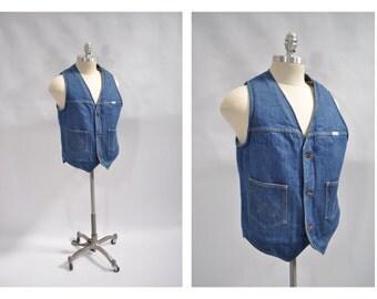 vintage denim vest WRANGLER vintage jean vest medium med m