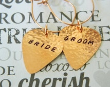 BRIDE and GROOM Guitar Pick Wine Charms, Copper, Champagne Toast, Wedding Gift, Wedding Reception, Head Table, Just Married, Cheers