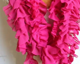 Cute  ruffled  chiffon  trim  hot pink color    2 yards listing
