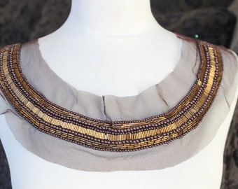 Cute  beaded and   embroidered  applique brown  color 1 pieces listing