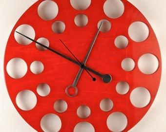 "POP Clock in Red, 24"" Modern Wall Clock"