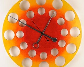 "POP Clock in Yellow to Red Sunburst, 24"" Modern Wall Clock"