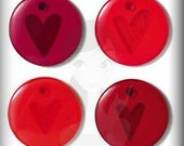 """Glossy Acrylic Embellishments """"Red Hearts"""" Jewelry Clippies Hair Clips Bracelets Bookmarks Bottle Cap Charms Scrapbooking Crafts Cards SBC"""