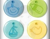 """Glossy Acrylic """"Baby Boy"""" Embellishments Jewelry Clippies Hair Clips Bracelets Bookmarks Bottle Cap Charms Scrapbooking Crafts Cards SBC"""