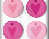 """Frosted Acrylic Embellihsments """"Pink Hearts"""" Jewelry Clippies Hair Clip Bracelet Bookmarks Bottle Cap Charms Scrapbooking Crafts Cards SBC"""